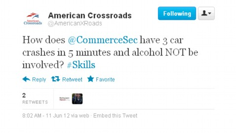 ht american crossroads ll 120611 wblog Conservative Super PAC (Briefly) Suggests Alcohol Involved In Commerce Secretary Incident
