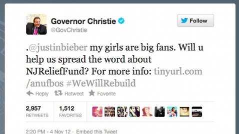 ht chris christie nt 121105 wblog New Jersey Gov. Chris Christie Tweets Bieber, Springsteen for Sandy Support