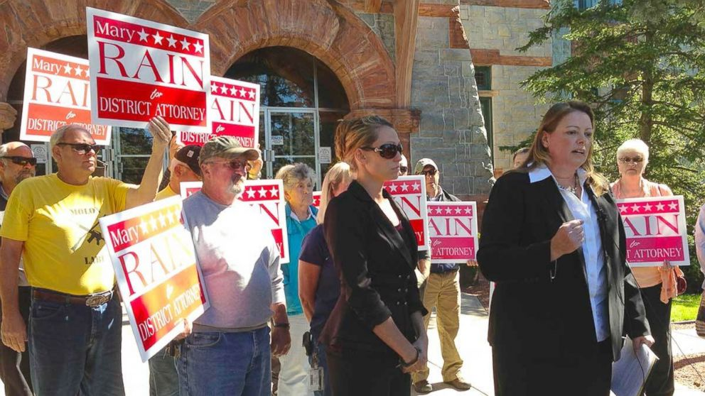 PHOTO: Mary Rain, right, announces her candidacy at the St. Lawrence County courthouse in Canton, New York. Standing beside her is Tandy Cyrus, whose son, Garrett Phillips, was murdered in 2011.
