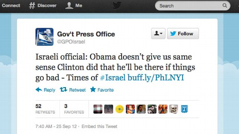ht israeli tweet nt 120926 wblog Israeli Government Tweets Article Criticizing Obamas Relationship With Israel