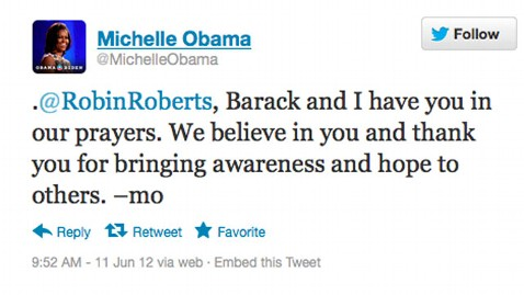 ht michelle obama tweet dm 120611 wblog The First Ladys Message For Robin Roberts