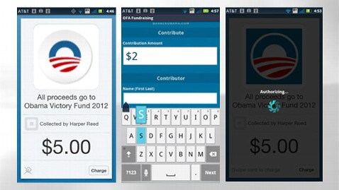 ht obama campaign app jef 120131 wblog Obama Debuts Cell Phone Credit Card Swipe for Donations