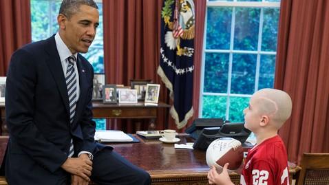 ht obama jack hoffman tk 130429 wblog Touchdown Scorer, 7, With Cancer Visits Obama at White House