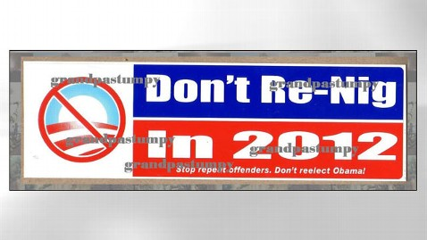 ht racist bumper sticker jef 120316 wblog Dont Re Nig in 2012: Maker of Racist Anti Obama Sticker Shuts Down Site