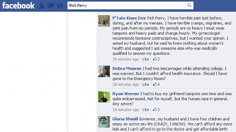 ht rick perry facebook bomb ll 120321 wblog Rick Perrys FB Page Bombed With Questions About Lady Parts