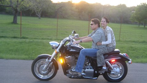 Heather Burcham on Rick Perry motorcycle