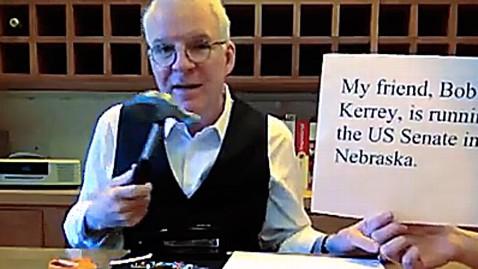 ht steve martin dm 121005 wblog Video: Steve Martin Endorses Bob Kerrey, Demos Paper Wadding