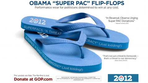 ht super pac flip flops dm 120208 wblog Obama Fashion Line Launches as GOP Jabs