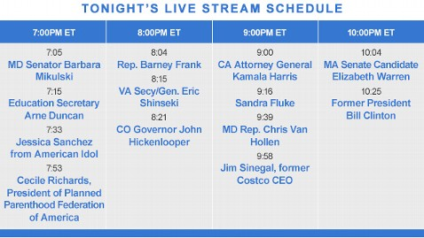 livestream DNC schedule120905 wblog Live Blog: Democratic National Convention 2012; Day 2   Bill Clinton, Elizabeth Warren