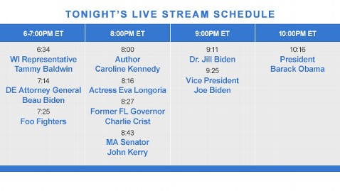 livestream DNC schedule120906 wblog Live Blog: Democratic National Convention 2012; Barack Obama, Joe Biden