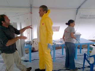 PHOTO: ABC's Dr. Richard Besser in a biohazard suit before going to visit ebola victims in Uganda.