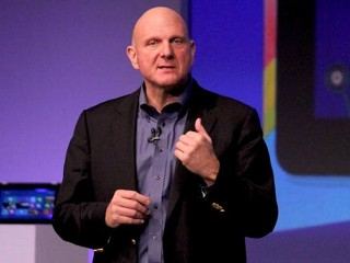 PHOTO: Microsoft CEO Steve Ballmer speaks at the Windows 8 launch event.