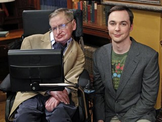 "PHOTO: Stephen Hawking appears with jim Parsons (as Sheldon) on The Big Bang Theory in episode ""The Hawking Excitation"" airing on April 5, 2012."