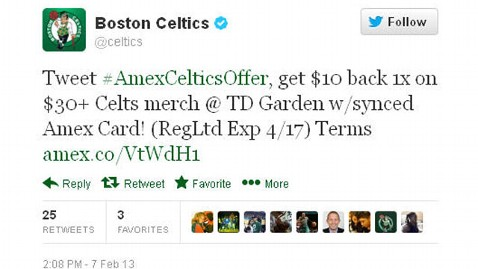 ht celtics amex mi130212 wblog Tweet to Buy? American Express Launches Purchase by Tweeting