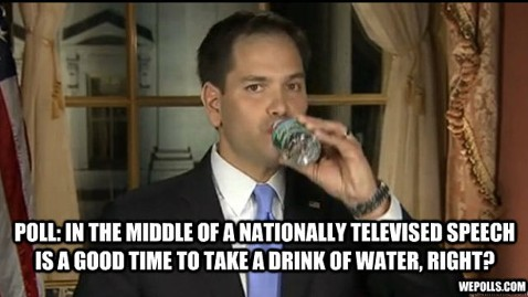 ht marco rubio drink water nt 130213 wblog Marco Rubios Water Break: Jokes Not Drying Up Online