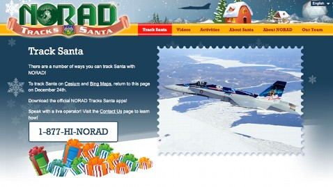 ht norad santa tracker thg 121213 wblog NORAD Tracks Santa Claus Christmas Eve; Google Maps Replaced by Bing