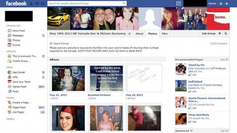 Lost and Found Facebook Groups for Okla  Tornado Victims