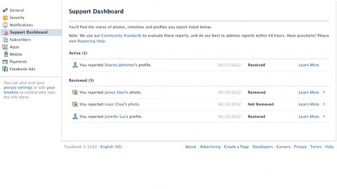 support dashborad facebook 1 thg 120426 wblog Facebook Support Dashboard Provides More Information about Reported Content