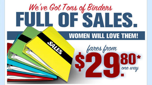 ht spirit airlines binders sale lpl 121018 wmain Spirit Airlines Mocks Romney With Binders Full of Sales