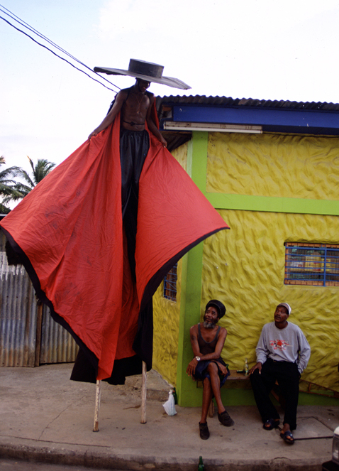 ht stefan falke red cape jp 120523 vblog Above The Ground: Stilt Walking School in Trinidad