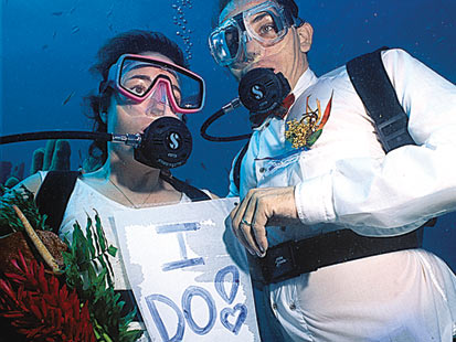 Anse Chastanet Resort on St. Lucia will bring your wedding under the sea for a $350 surcharge.