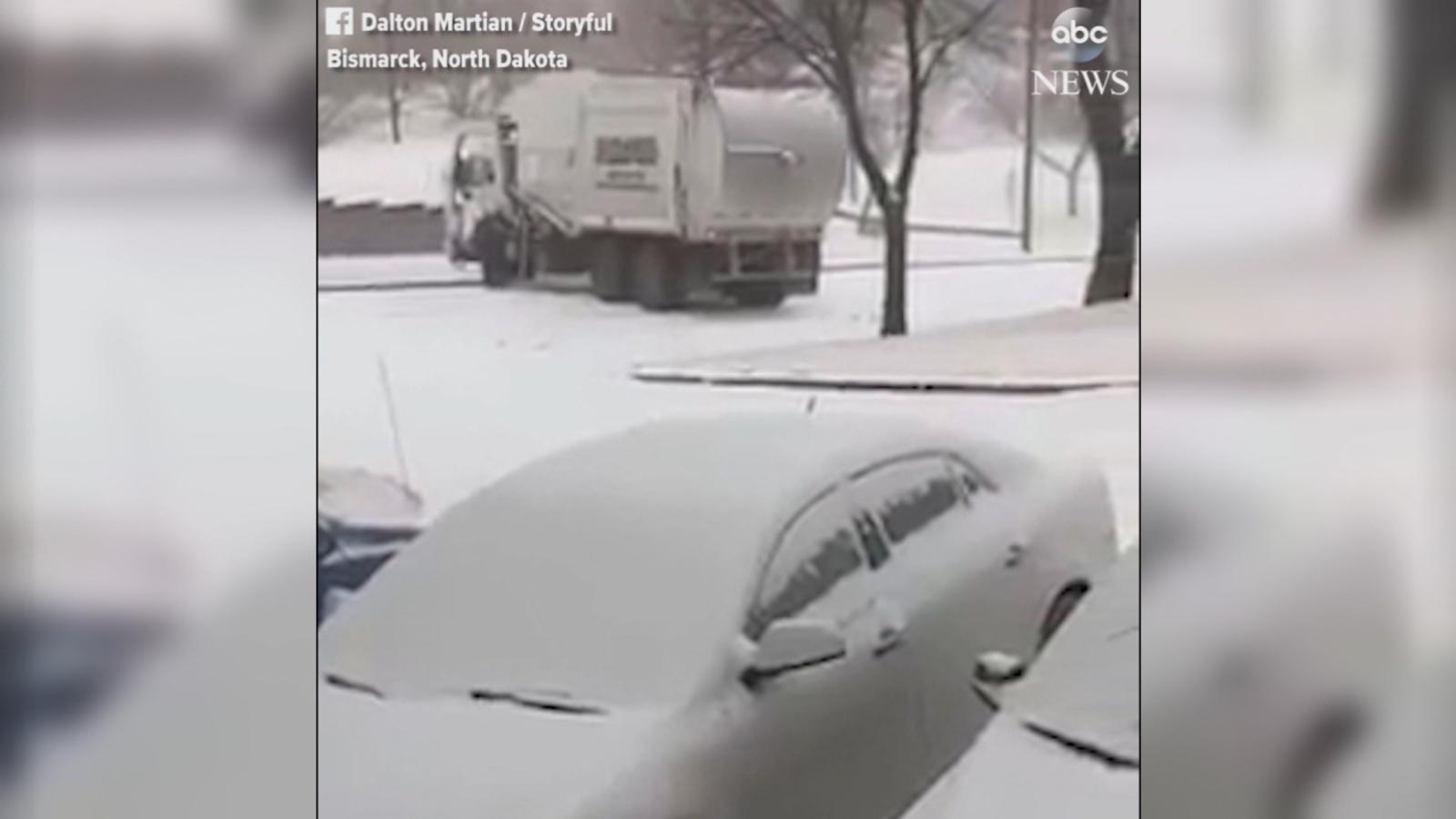 VIDEO: The truck fell victim to icy roads in Bismarck, North Dakota.