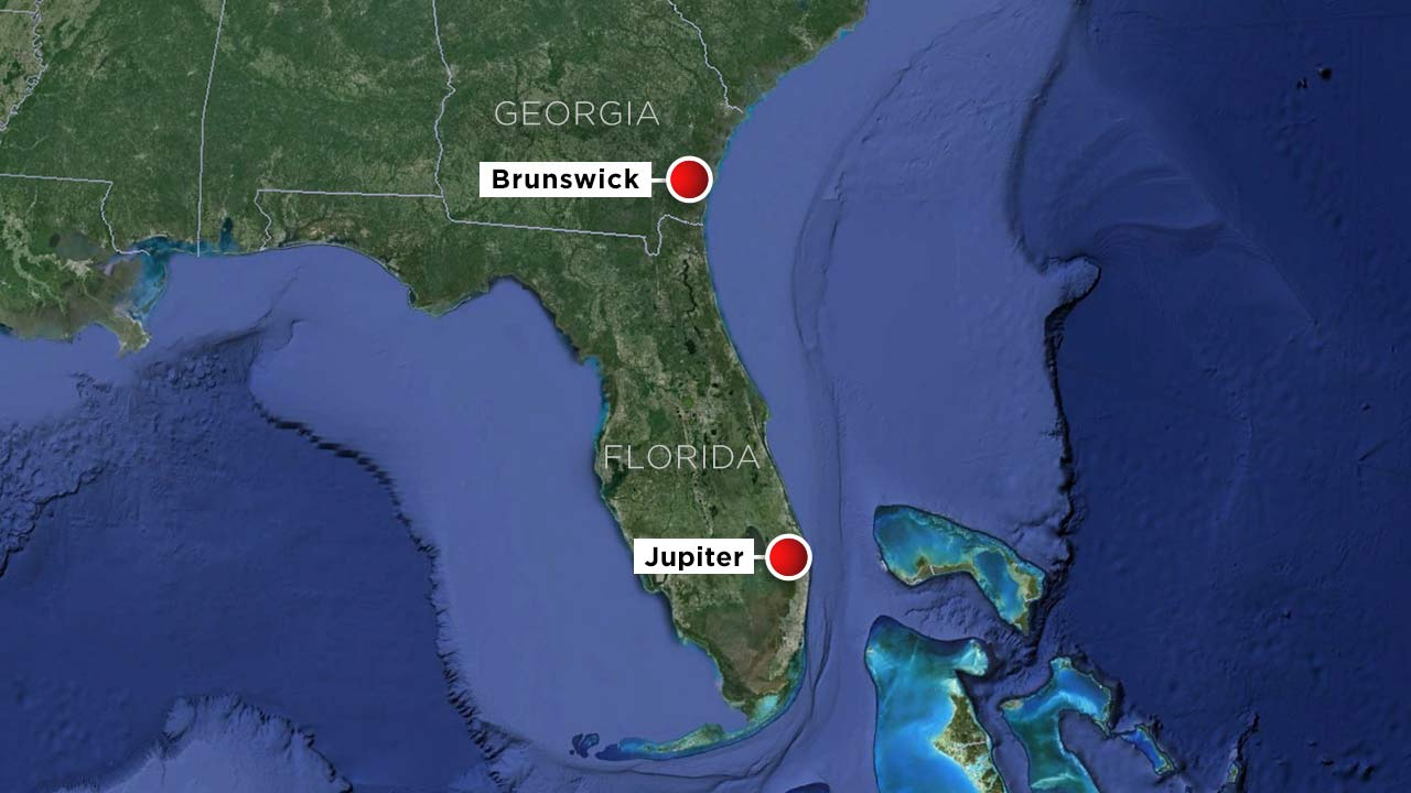 Map Of Florida Showing Jupiter.Photo A Map Showing Jupiter Fla And Brunswick Ga Abc News