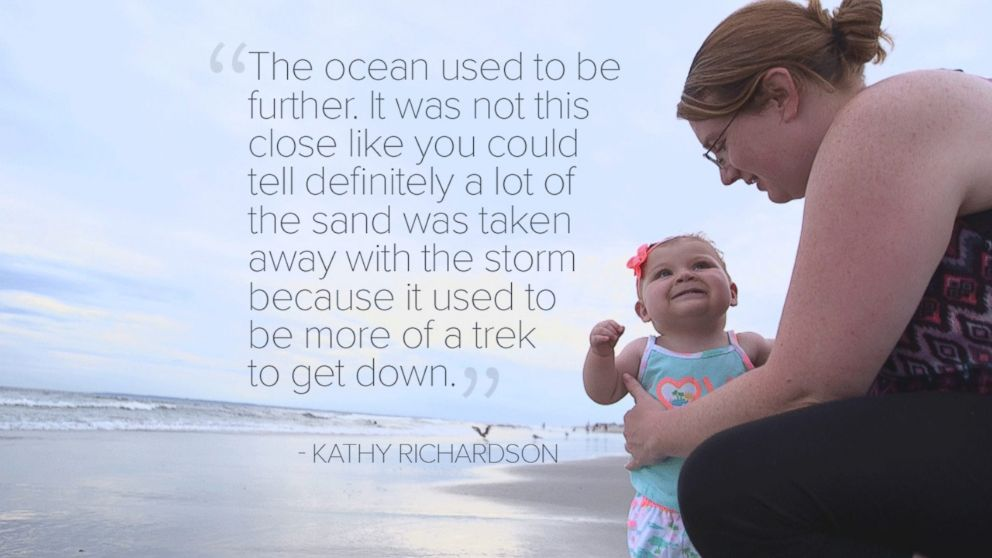 """PHOTO: """"The ocean used to be further. It was not this close like you could tell definitely a lot of the sand was taken away with the storm because it used to be more of a trek to get down."""" -Kathy Richardson"""