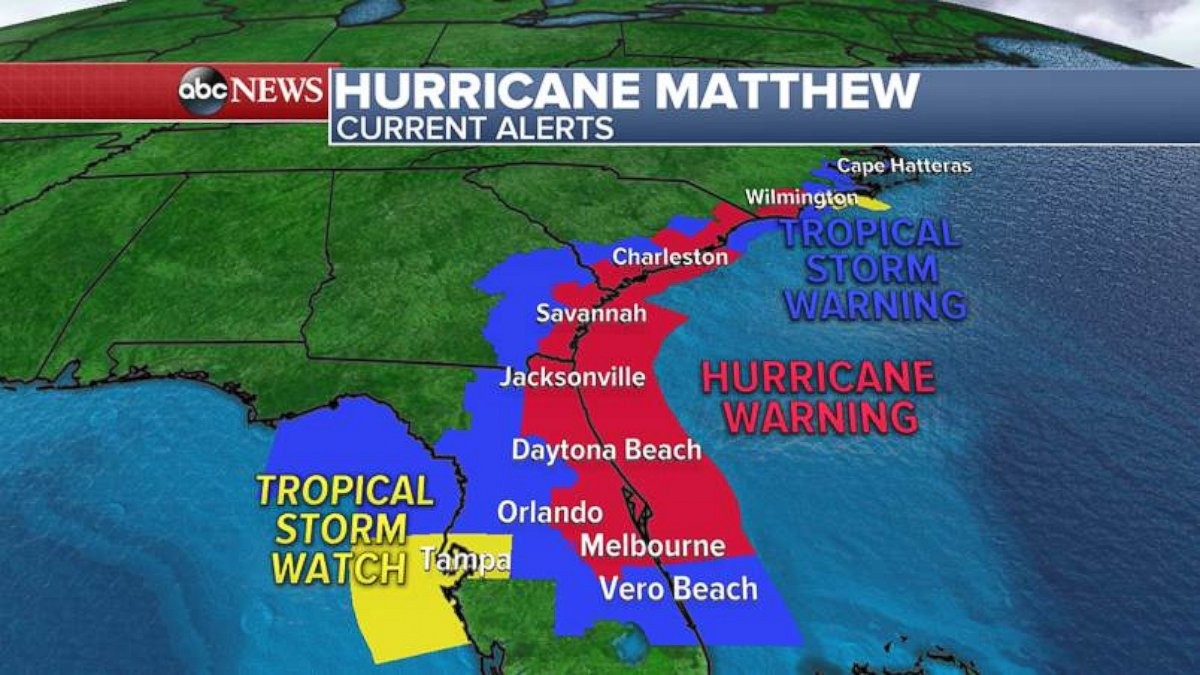 Photo The Hurricane Matthew Alert Map As Of 11 A M On Friday Oct 7 2016 Abc News