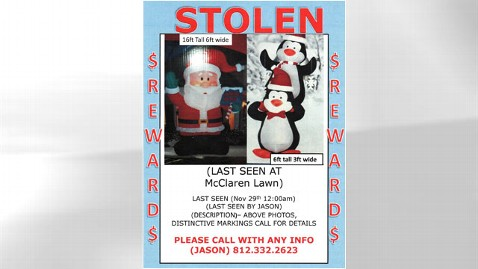 HT Stolen Santa Penguins thg 111205 wblog Stolen 16 Foot Santa Returned With Apology and $100