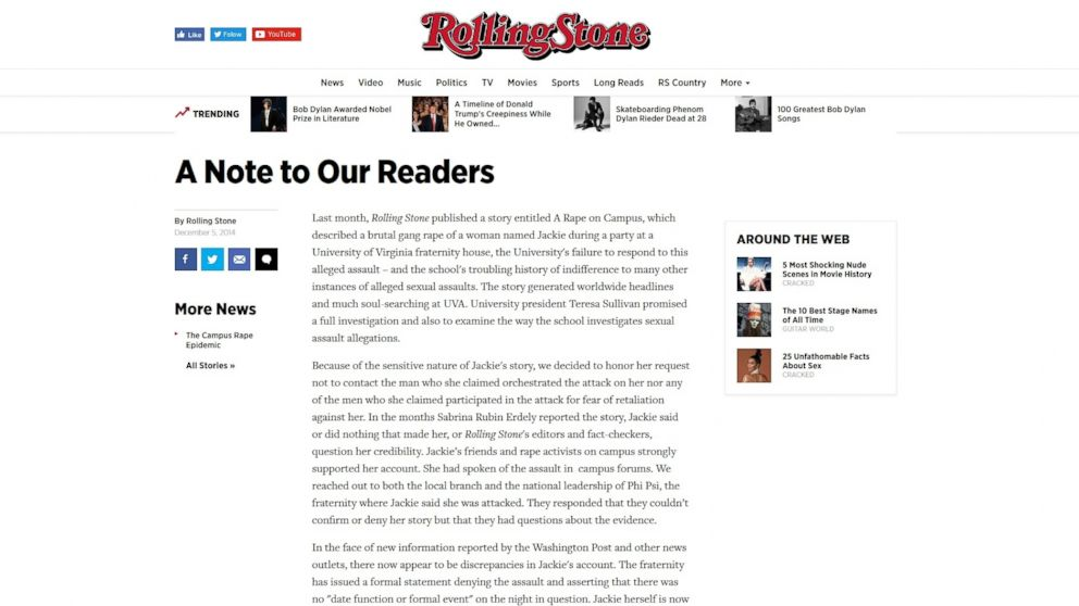 How the Retracted Rolling Stone Article 'A Rape on Campus