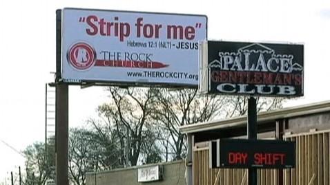 abc church strip club sign jef 130327 wblog Ala. Church Raises Strip for Me Billboard Over Mens Club