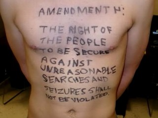VIDEO: A college student scrawled language from the U.S. Constitution on his chest.