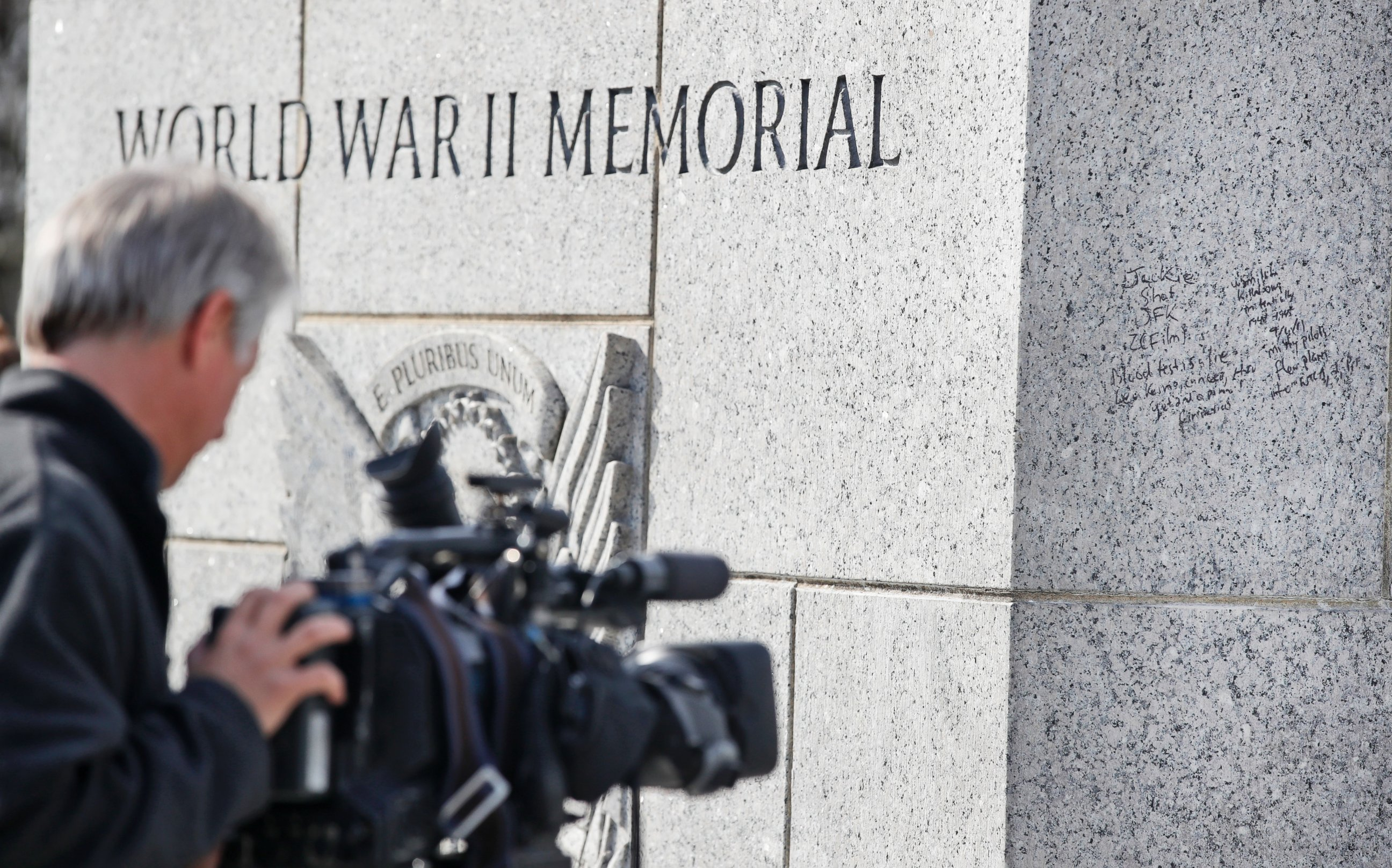 world war ii videos at abc news video archive at abcnews com photo a news videographer tapes the graffiti on the world war ii memorial feb 21 2017 in washington