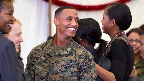 ap Lance Corporal Aaron Leeks Michelle Obama jt 111218 wblog Marine Lance Cpl. Aaron Leeks Date to the Ball: Michelle Obama
