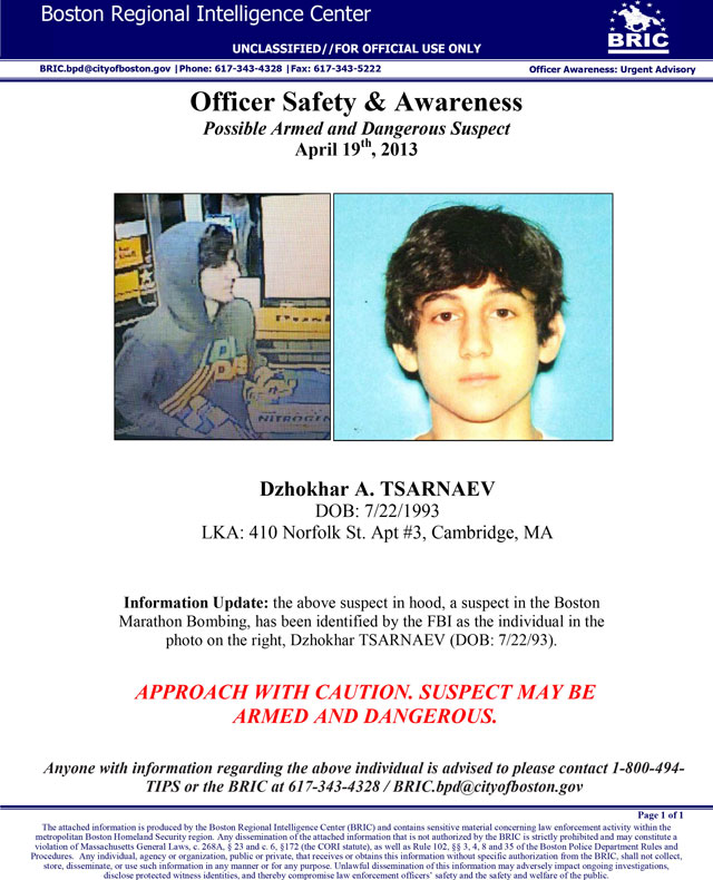 ap Wanted poster dzhokhar tsarnaev thg 130419 vblog LIVE UPDATES: Police Descend on Mass. Town in Hunt for Bombing Suspect