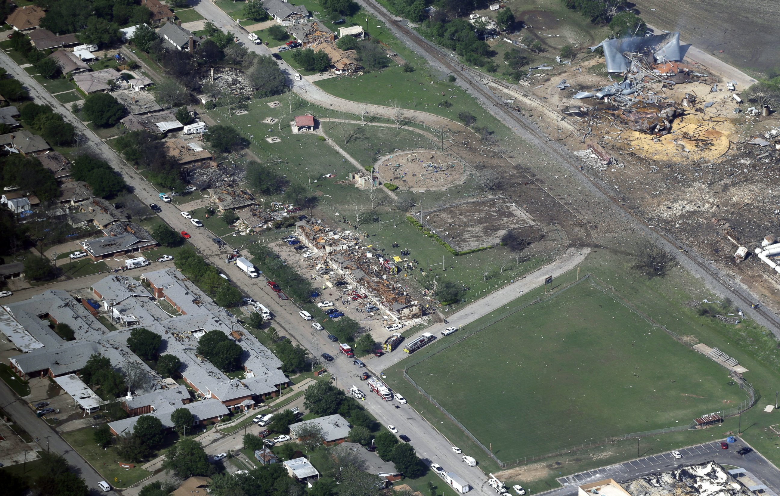 PHOTO: An April 18, 2013 Aerial Photo Shows The Remains Of A Nursing Home,  Left, Apartment Complex, Center, And Fertilizer Plant, Right, Destroyed By  An ... Part 82