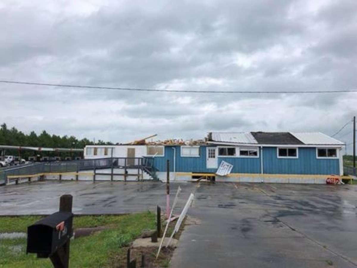 Roofs were ripped off homes in the area of Galliano, Louisiana, as the National Weather Service confirmed a tornado moved through the region on Sunday, April 22, 2018.