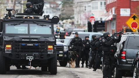 gty boston swat police manhunt suspect thg 130419 wblog LIVE UPDATES: Boston Bombing Suspect in Custody, Say Police