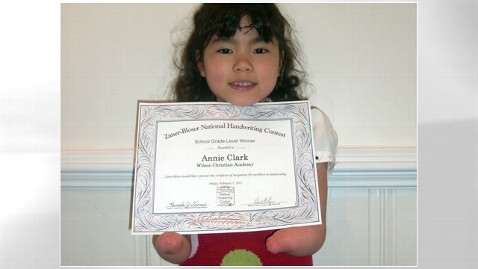 ht Annie Clark nt 120419 wblog First Grader Born Without Hands Wins Penmanship Award