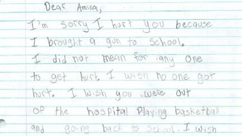 Washington Boy, 9, Writes Apology to Girl He Shot