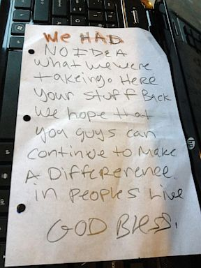 ht burglary note ll 130807 3x4 384 Whoops! California Charity Thieves Return Haul with Handwritten Note