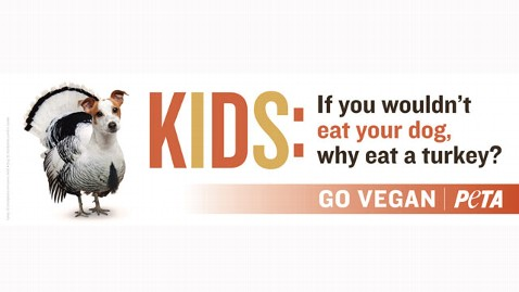 ht peta turkey dog ad jef 111114 wblog PETA to Kids: Would You Eat Your Dog For Thanksgiving?