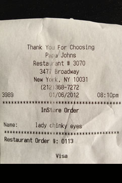 ht twitpic racial slur receipt jt 120108 vblog Papa Johns Employee Calls Woman Lady Chinky Eyes on Receipt