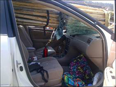 ht woman survives accident 2 ll 120710 wblog Teepee Poles Impale Car Windshield as Driver Survives