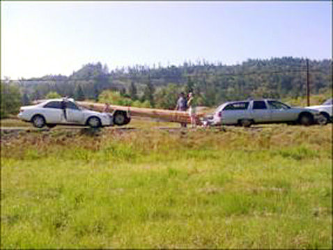 ht woman survives accident 4 ll 120710 wblog Teepee Poles Impale Car Windshield as Driver Survives