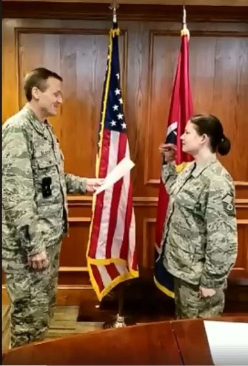 PHOTO: Administrative action was taken against three members of the Tennessee National Guard after video depicting a re-enlistment ceremony showed a senior non commissioned officer taking an oath ...