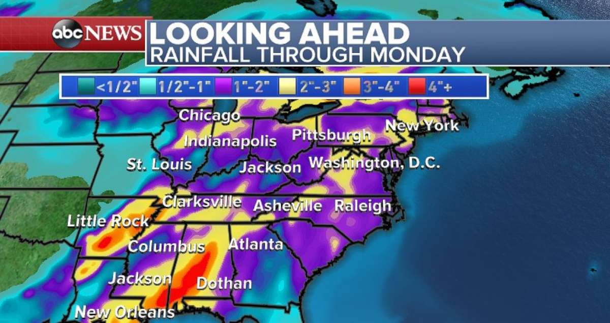 Louisiana, Mississippi and Alabama will receive the heaviest rainfall by the time the storms move out of the South on Monday.