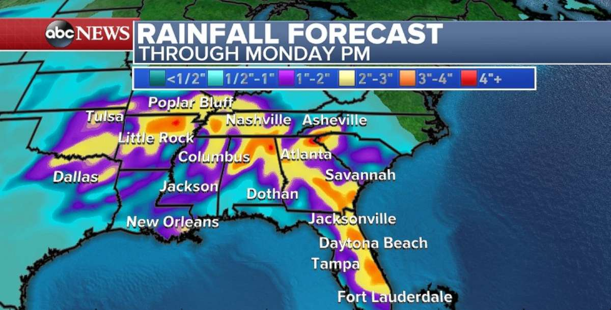 Rainfall totals through Monday are expected to be heaviest in the Tennessee River Valley.