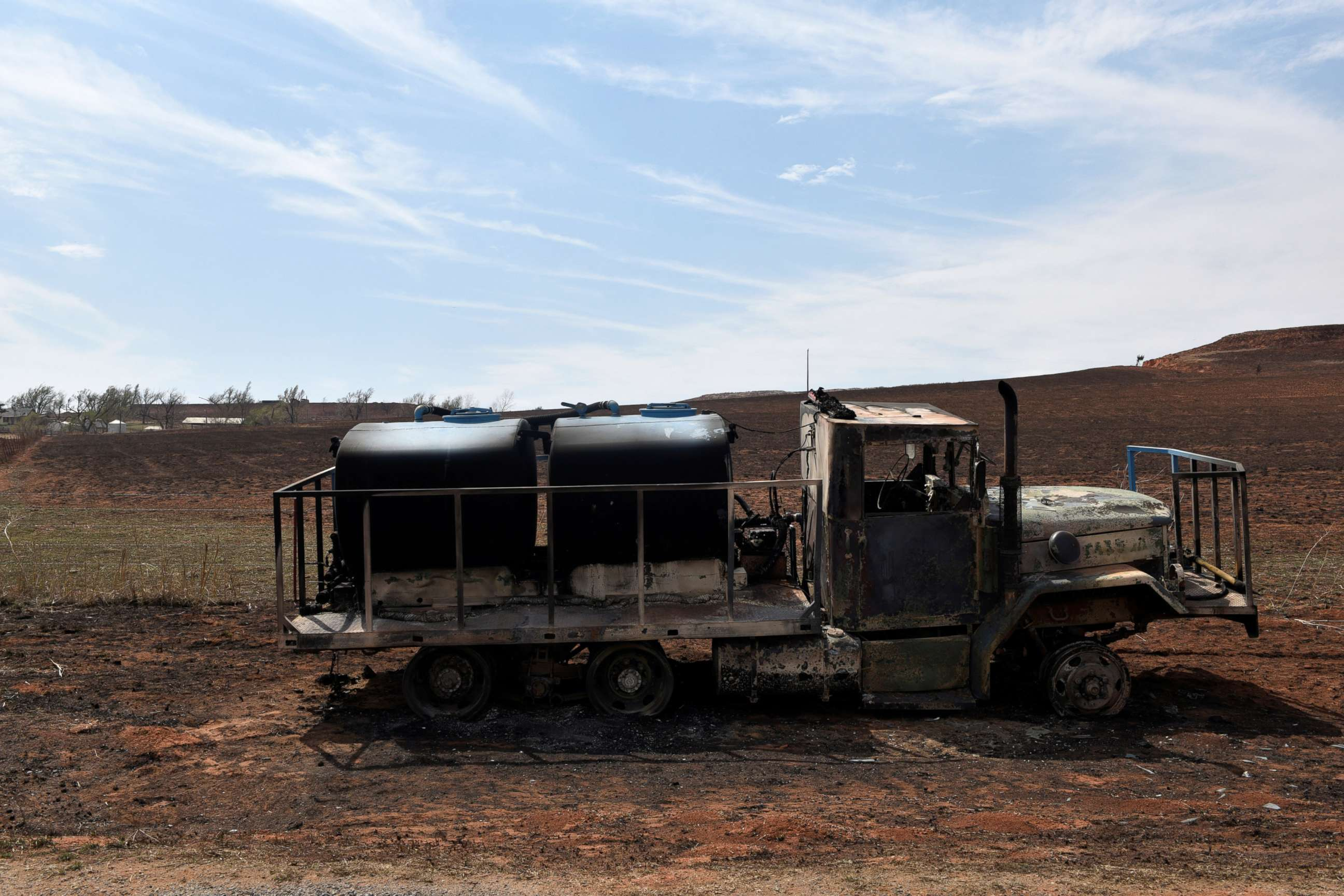 PHOTO: A fire truck that was destroyed by the Rhea fire is seen near Taloga, Oklahoma, April 17, 2018.